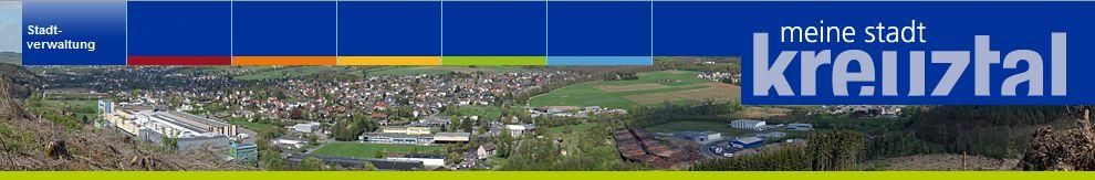 Werbelogo, Stadtwappen und Bildkollage der Stadt Kreuztal